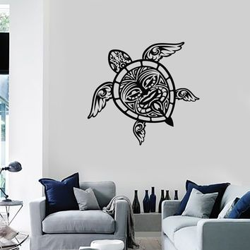 Vinyl Wall Decal Sea Turtle Tribal Pattern Ocean Nautical Decor Art Stickers Mural (ig5442)