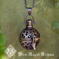 Medieval Amber Resin Pendant Locket Necklace by WhiteMagickAlchemy