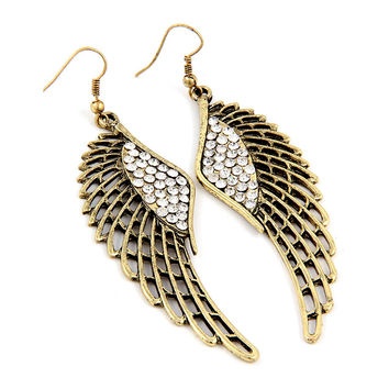 antiqued gold angel wing earrings with crystal detail