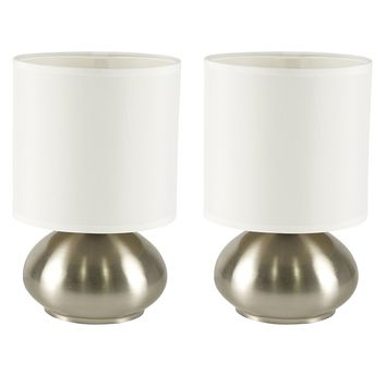 Light Accents Touch Table lamps Brushed Nickel With Fabric Shades and 3-stage Switch Dimmer (Low, Bright, and Off) Set of 2 Side Table Lamps for Bedroom End Table