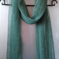 Linen Scarf Shawl Wrap Stole Green Light Transparent SALE