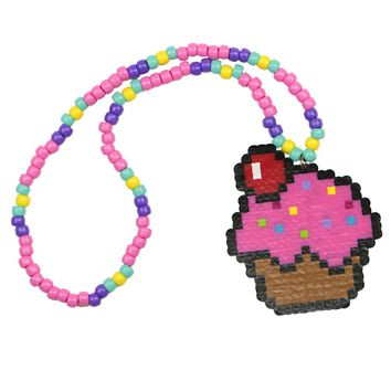 Pink Cupcake Kandi Necklace