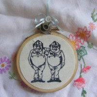 """Hand embroidery Alice through the looking glass collection """"Tweedle Dum and Dee.Blackwork Alice in wonderland"""