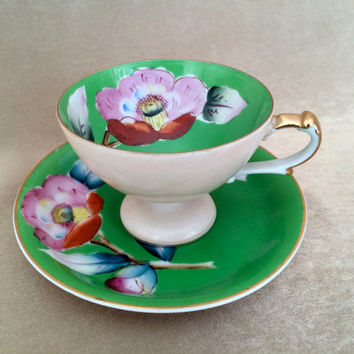 Wales China Teacup, Hand Painted, Bright Green Floral, Vintage Collectible, Cup and Saucer, Occupied Japan, Eggshell Thin, Gold Trimmed Set