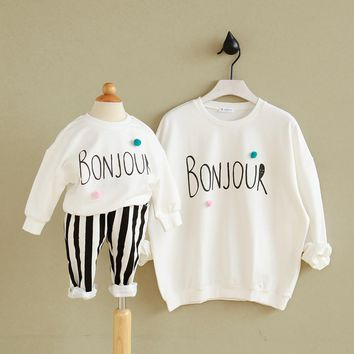 mother son outfits mother daughter matching family hoodies cartoon top jersey 2017 new mommy and me clothes animal free shipping