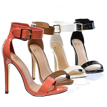 Canter Classy Dress Open Toe Stiletto Heel Sandal w/Buckle Ankle Strap