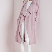 WATERFALL COLLARLESS TRENCH COAT MAUVE