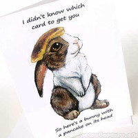 Pancake Bunny Rabbit Funny Blank Greeting Card Meme Art