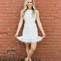 I'm Everywhere Open Back Lace Dress - Off White