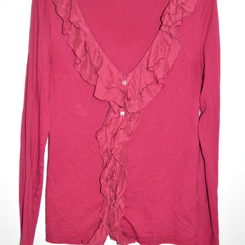Velvet Brand Anthropologie Button Ruffle Top Large