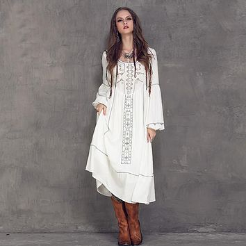 New Summer Ethnic Vintage Emboidery Cotton Linen Dresses Women O-Neck Loose Long Lantern Sleeve Casual Boho Dress Vestidos