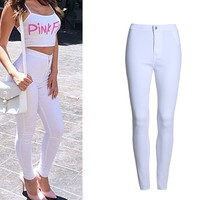 Multicolors Fashion High Waist Jeans  Lift Hip Skinny Jeans Woman Stretchy Pencil Pants Female Denim Jeans For  XS-XXL