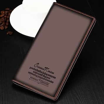 Fashion Boyfriend Gift Wallet Black Brown Men's Long Leather Wallet Men Business ID Card Holder Purse Clutch Bifold Soft Bag