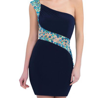 Blue One Shoulder  Homecoming Dresses,Crystals  Homecoming Dresses,Homecoming Dress