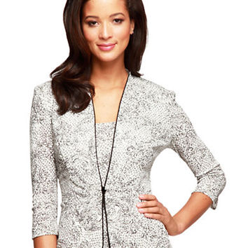 Alex Evenings Three Quarter Sleeve Embroidered Jacket and Tank Top Set