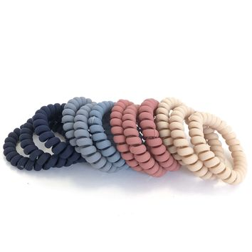 Matte Multi Colored Coil Hair Tie Set