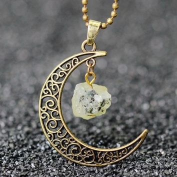 Handmade Natural Crystal Moon Pendant Necklace With Healing Stone