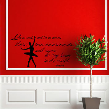 Quote About Dance Life Ballet with Dancer Ballerina Vinyl Decal Home Wall Decor Dance School Studio Stylish Sticker Unique Design Room V506