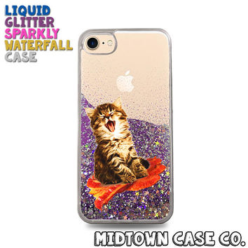 Kitten Laughing on Bacon Funny Flying Cat Cute Liquid Glitter Waterfall Quicksand Sparkles Glitter Bomb Bling Case for iPhone 7 7 Plus 6s 6