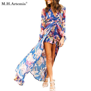 2017 Plus size M.h.artemis Women Playsuit Eegant Pajama Romper V-neck Sheer Long Sleeve Sexy S-xxxl One Piece Overalls Fall New
