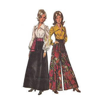 1970s Misses Palazzo Pants, Sash & Pirate Blouse Bust 36 Simplicity 5235 PantSkirt Skirt Puffed Sleeve Poet Top Vintage Sewing Pattern