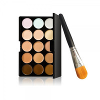 15-Color Concealer Palette & Nylon Bristle Foundation Brush Kit