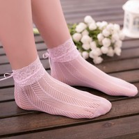 Kawaii Fishnet Socks Short Lolita Socks Women Gothic Pink Lace Ruffle Socks Transparent Breathable Dress Cute Socks
