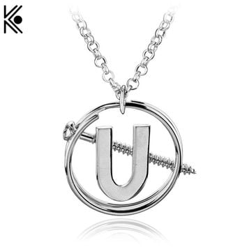 Newest Ghostbusters Holtzmann's Screw U Necklace Pendant Cosplay & Halloween Costume the Silver Punk Necklace for Women Gift