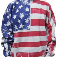 Flag FR1200 - Frank Allover American Flag Crew Neck Sweatshirt - Medium