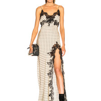 Redemption Long Dress with Lace Slit in Off White   FWRD