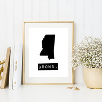 Mississippi state signs, home sign, black and white state print, Mississippi print, custom map print, Mississippi gift, personalized map art