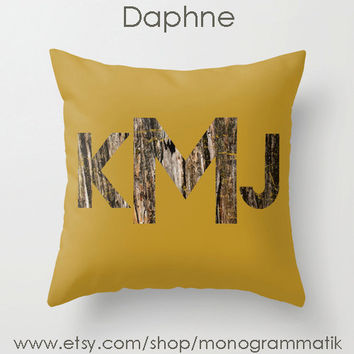 "Monogram Personalized Custom Pillow Cover ""Daphne"" 16"" x 16"" Couch Bedroom Decor Initial Letters Mustard Ochre Nature Woodland Forest Rustic"