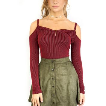 Love Potion Wine and Black Striped Long Sleeve Top
