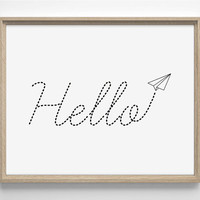 Hello - Paper Airplane Note - Art Print - Cute - Typography Art - Home Office Decor - Housewarming Gift - College Dorm Art - Poster - Quote