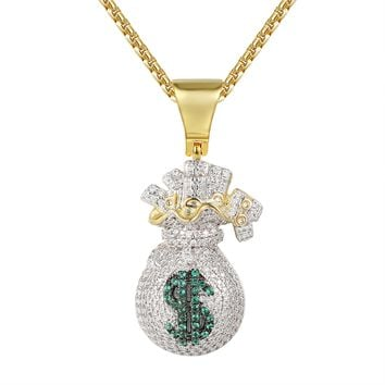 Iced Out Dollar Money Bag Pouch Pendant Box Chain