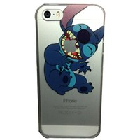 iPhone 5G 5 5S Lovely Disney Cartoon Lilo and Stitch Eating/ Grabbing Apple logo Cute Clear Case Cover for Iphone 5 and 5s Xmas Gift (Stitch02 for 5/5S)