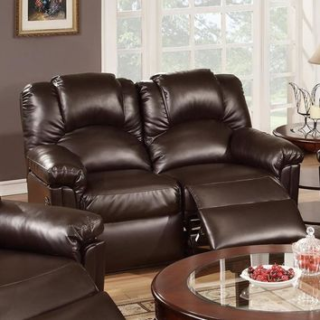 Bonded Leather Recliner Loveseat, Brown