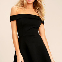 Season of Fun Black Off-the-Shoulder Skater Dress