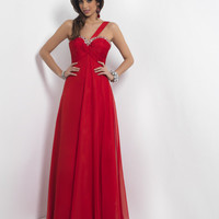 Crimson Red One Shoulder Long Elegant Chiffon Homecoming Dress - Unique Vintage - Homecoming Dresses, Pinup & Prom Dresses.