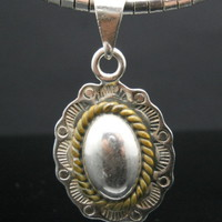 Rope Cabochon Southwestern Sterling Silver Necklace 18 Inch