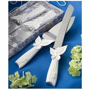 Brand New Wedding Cake Resin Handle Knife and Serving Set