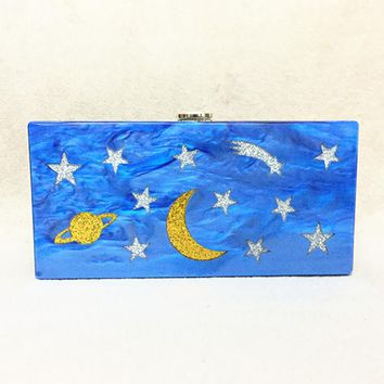 2017 Women Acrylic Clutch Box Sky Stars and Moon Printing Evening bag Wedding Bag Cute Handbag Shoulder Bag Patchwork Acrylic