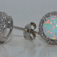 2 Carat Opal Diamond Stud Earrings White Gold Quality
