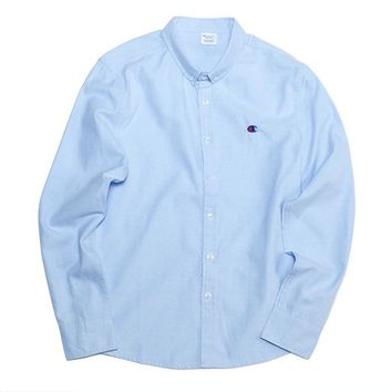 Tide brand Champion retro small long - sleeved shirt casual wild simple shirt tide men and women Light blue
