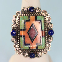 Inlaid Gemstones Sterling Silver Ring NA Ben Chavez Signed  Adjustable 1990