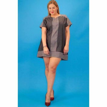Chambray Denim, Short Sleeve Dress with Pockets Plus Size