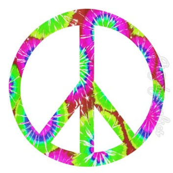 Peace Sign Tie Dye Peel and Stick Removable Wall Decals  Wall Art Love PC15