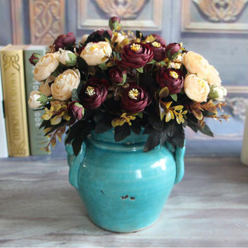 Vivid 6 Branches Autumn Artificial Fake Peony Flower Home Room Bridal Hydrangea Decor Real Touch 4 colors Free Shipping