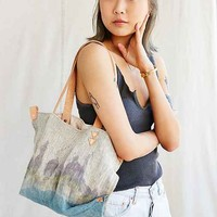 Arden + James Dip-Dyed Linen Tote Bag- Neutral Multi One