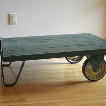 vintage industrial chic train station cart coffee table by timsway